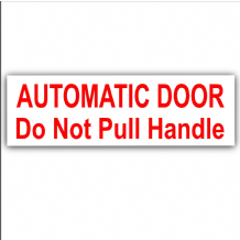 2 x Automatic Door-Do Not Pull Handle-EXTERNAL Stickers-Mini Cab,Taxi Minicab Red on White Signs